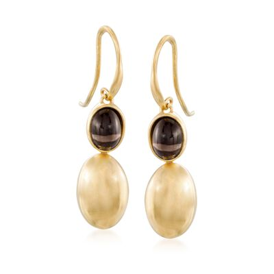 Italian 2.60 ct. t.w. Smoky Quartz Drop Earrings in 14kt Gold Over Sterling, , default