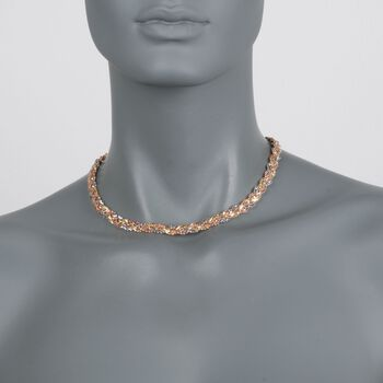 "C. 1990 Vintage 18kt Tri-Colored Gold Braided Necklace. 16"", , default"