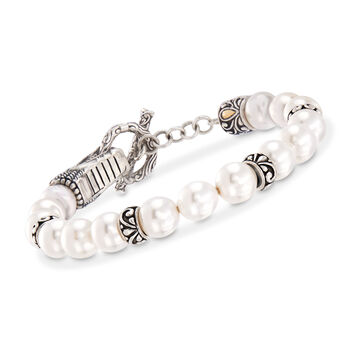 8-8.25mm Shell Pearl Dragon Bracelet in Sterling Silver with 18kt Yellow Gold