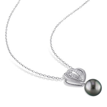 "8.5-9mm Black Cultured Tahitian Pearl and .12 ct. t.w. Diamond Pendant Necklace in Sterling Silver. 18"", , default"