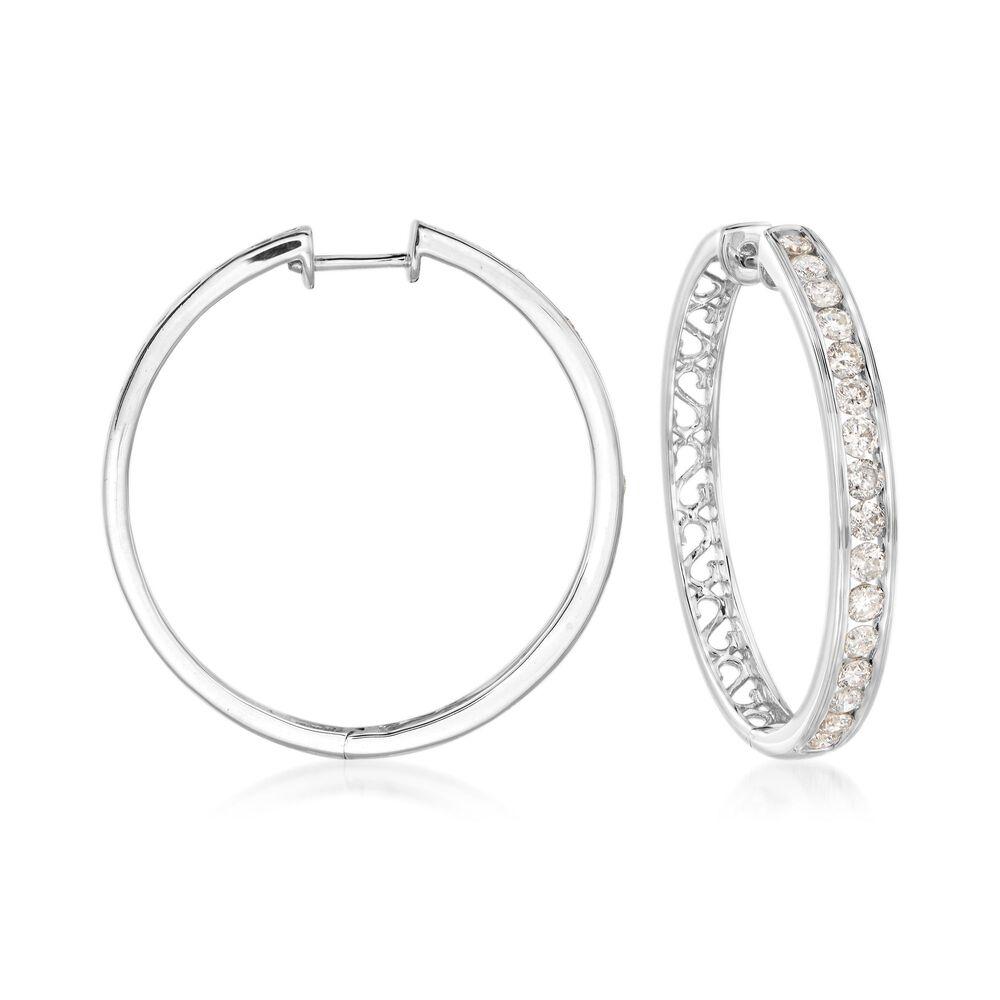 ee0a5cdeef314 2.00 ct. t.w. Channel-Set Diamond Hoop Earrings in 14kt White Gold. 1 1/4