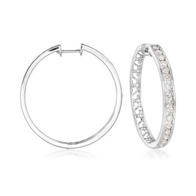 2.00 ct. t.w. Channel-Set Diamond Hoop Earrings in 14kt White Gold, , default