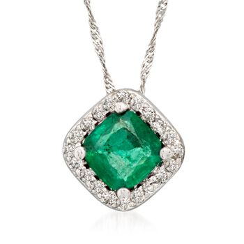 """1.00 Carat Emerald and .20 ct. t.w. Diamond Pendant Necklace in 14kt White Gold. 16"""", , default"""