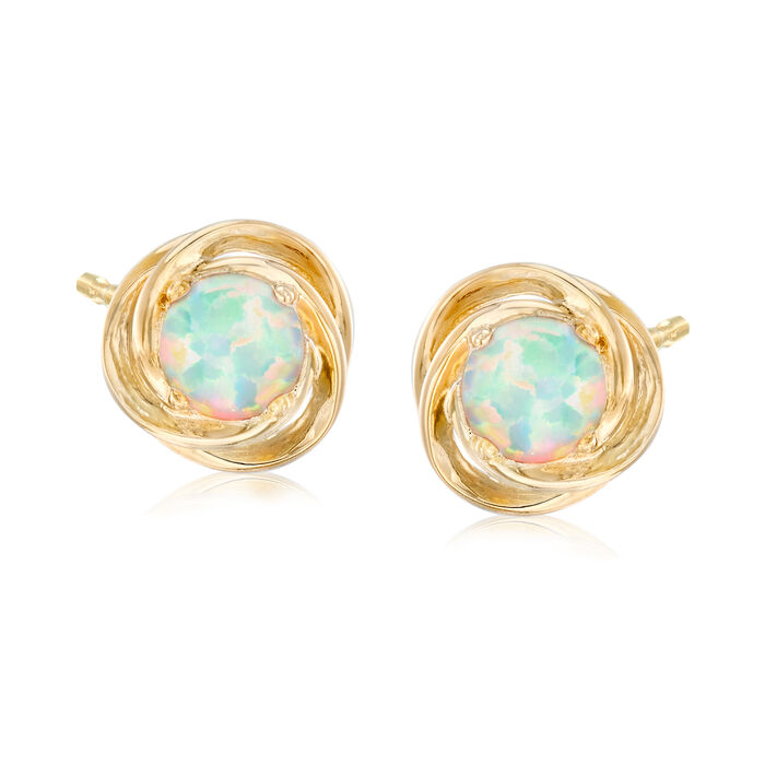 Opal Love Knot Earrings in 18kt Gold Over Sterling Silver, , default