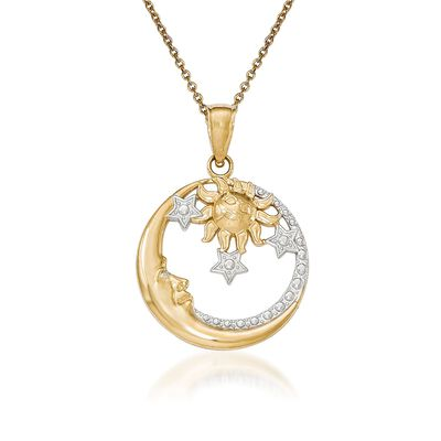 14kt Yellow Gold Sun, Moon and Stars Pendant Necklace, , default