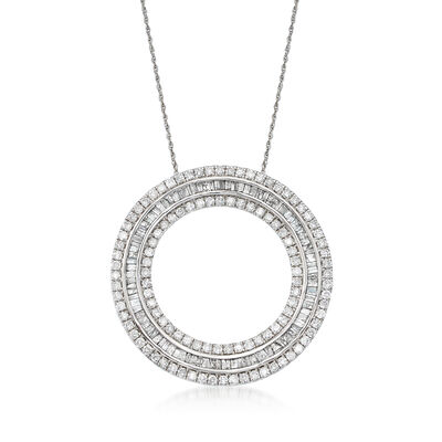 3.00 ct. t.w. Diamond Open Eternity Circle Pendant Necklace in 14kt White Gold, , default