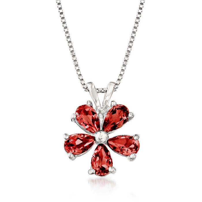 1.25 ct. t.w. Garnet Flower Pendant Necklace in Sterling Silver