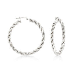 "Italian Sterling Silver Medium Twisted Hoop Earrings. 1 1/2"", , default"