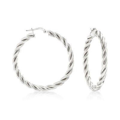 Italian Sterling Silver Medium Twisted Hoop Earrings, , default