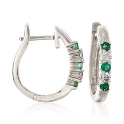 ".20 ct. t.w. Emerald and .10 ct. t.w. Diamond Hoop Earrings in 14kt White Gold. 1/2"", , default"