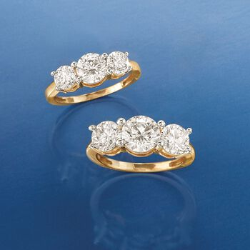 4.00 ct. t.w. CZ Three-Stone Ring in 14kt Yellow Gold, , default