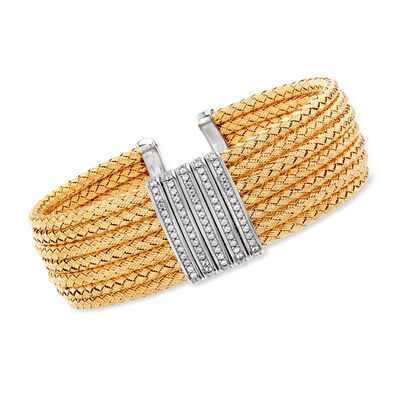 Italian .60 ct. t.w. CZ Basketweave Cuff Bracelet in Two-Tone Sterling Silver, , default