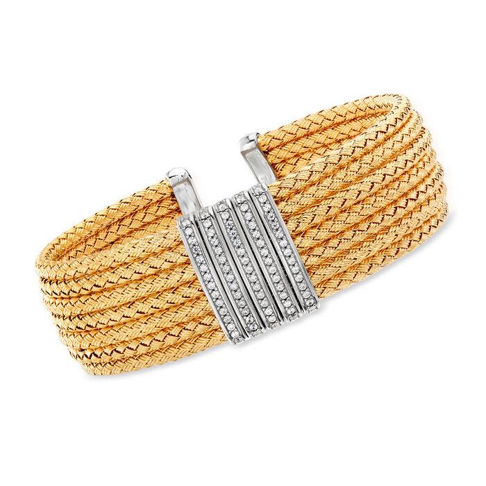 """Italian .60 ct. t.w. CZ Basketweave Cuff Bracelet in Two-Tone Sterling Silver. 7.5"""""""