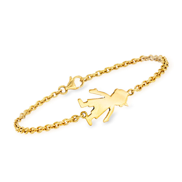 "C. 1990 Vintage 18kt Yellow Gold Boy Cable-Link Bracelet. 7"", , default"