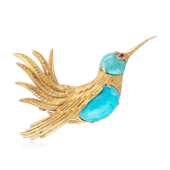 C. 1970 Vintage Turquoise and Ruby-Accented Bird Pin in 18kt Yellow Gold
