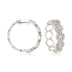 """3.00 ct. t.w. Diamond Halo Earrings in 14kt White Gold. 7/8"""", , default"""
