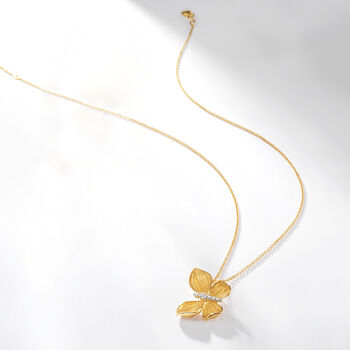 "Simon G. Diamond-Accented Butterfly Drop Necklace in 18kt Yellow Gold. 17"", , default"