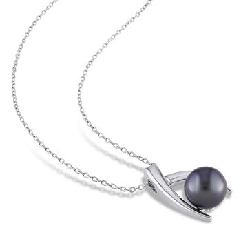 9.5-10mm Black Cultured Tahitian Pearl Pendant Necklace in Sterling Silver. 18""