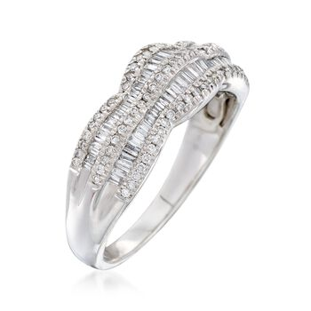 .75 ct. t.w. Round and Baguette Diamond Scalloped Ring in 14kt White Gold, , default