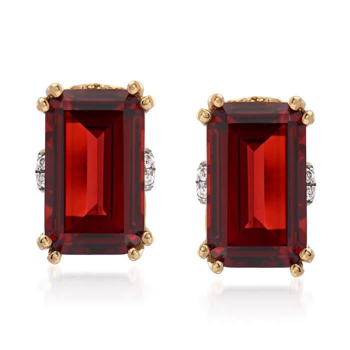 5.25 ct. t.w. Garnet Earrings with Diamond Accents in 14kt Yellow Gold, , default