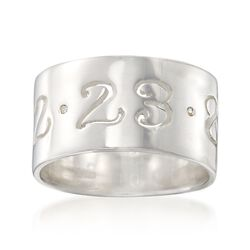 Sterling Silver Personalized Date Ring With CZ Accents, , default