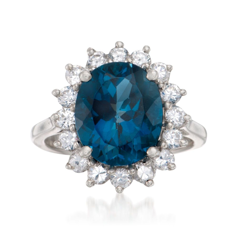 5 40 Carat London Blue Topaz And 1 10 Ct T W White Topaz Ring In Sterling Silver Ross Simons
