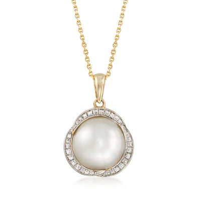 12mm Mabe Pearl and .17 ct. t.w. Diamond Pendant Necklace in 14kt Yellow Gold, , default
