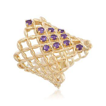 .50 ct. t.w. Amethyst Latticework Ring in 18kt Gold Over Sterling, , default
