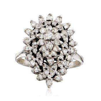 C. 1970 Vintage 1.25 ct. t.w. Diamond Cluster Ring in 14kt White Gold. Size 8.5, , default