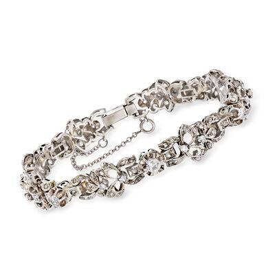 C. 1950 Vintage 2.20 ct. t.w. Diamond Bracelet in 18kt White Gold