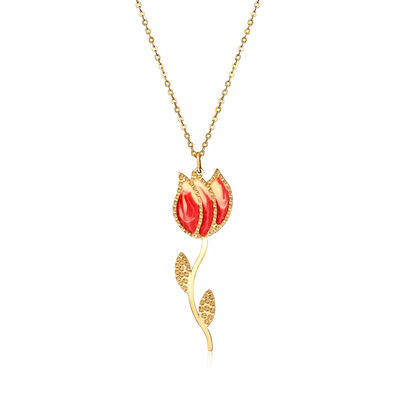 Italian 14kt Yellow Gold Tulip Pendant Necklace with Enamel