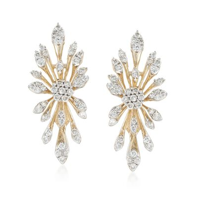 .82 ct. t.w. Diamond Starburst Earrings in 14kt Yellow Gold, , default