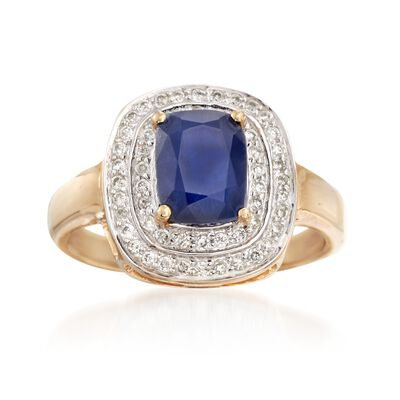1.90 Carat Sapphire and .31 ct. t.w. Diamond Ring in 14kt Yellow Gold, , default