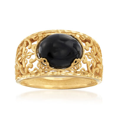 Italian Black Agate Filigree Ring in 14kt Yellow Gold, , default