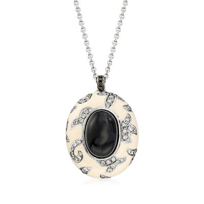 C. 1990 Vintage Nouvelle Bague Black Onyx and 1.05 ct. t.w. Diamond Pendant Necklace in 18kt White Gold