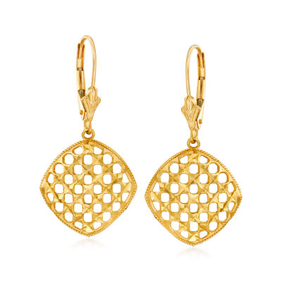 Diamond-Cut 14kt Yellow Gold Openwork Drop Earrings