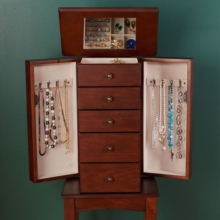 Walnut Simple Tradition 4-Drawer Jewelry Armoire