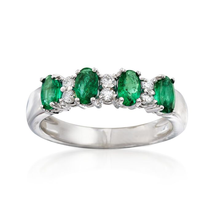 1.00 ct. t.w. Emerald and .15 ct. t.w. Diamond Ring in 14kt White Gold
