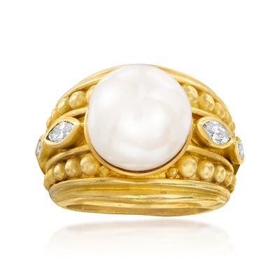 C. 1980 Vintage Judith Ripka 12mm Cultured Pearl and .50 ct. t.w. Diamond Ring in 18kt Yellow Gold, , default