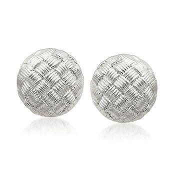 Sterling Silver Basketweave Dome Earrings, , default