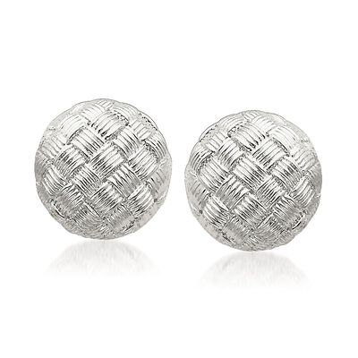 Sterling Silver Basketweave Dome Earrings, , default
