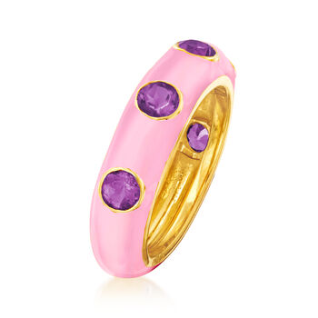 1.50 ct. t.w. Amethyst and Pink Enamel Ring in 18kt Gold Over Sterling