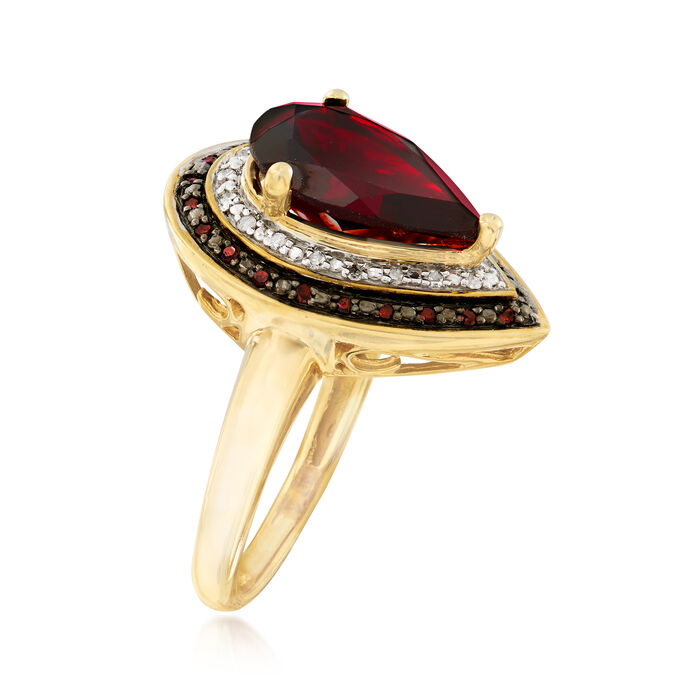 4.20 Carat Garnet and .20 ct. t.w. Red and White Diamond Ring in 18kt Gold Over Sterling