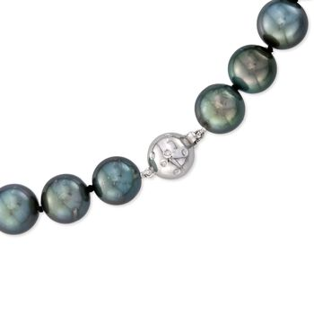 """12-15mm Black Cultured Tahitian Pearl Necklace with Diamond Accent and 14kt White Gold. 18"""""""