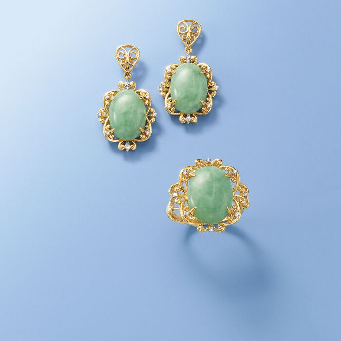 Green Jade Drop Earrings with Diamond Accents in 14kt Yellow Gold