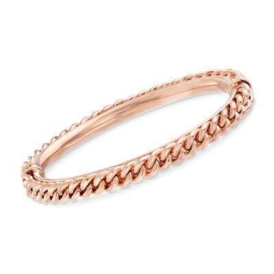 Italian 18kt Rose Gold Over Sterling Silver Curb Chain Bangle Bracelet, , default