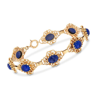 C. 1980 Vintage Lapis Bracelet in 14kt Yellow Gold, , default