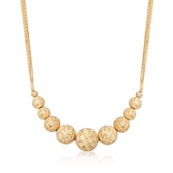 Italian 18kt Yellow Gold Graduated Bead Multi-Chain Necklace, , default
