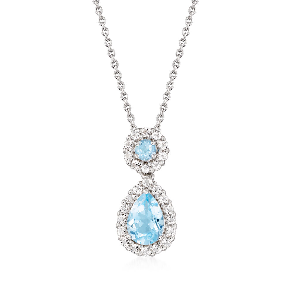 330 ct tw blue and white topaz pendant necklace in sterling tw blue and white topaz pendant necklace in sterling silver 18quot aloadofball Choice Image
