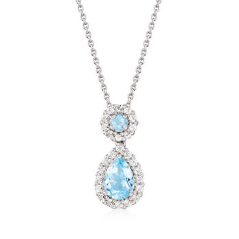 """3.30 ct. t.w. Blue and White Topaz Pendant Necklace in Sterling Silver. 18"""", , default"""